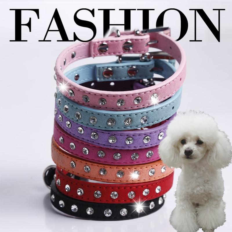 1 ряд Rhinestone ошейник для собак Diamante ошейники для домашних животных замша кожа XXS X M S чихуахуа чашка пудель Тедди 7 цветов