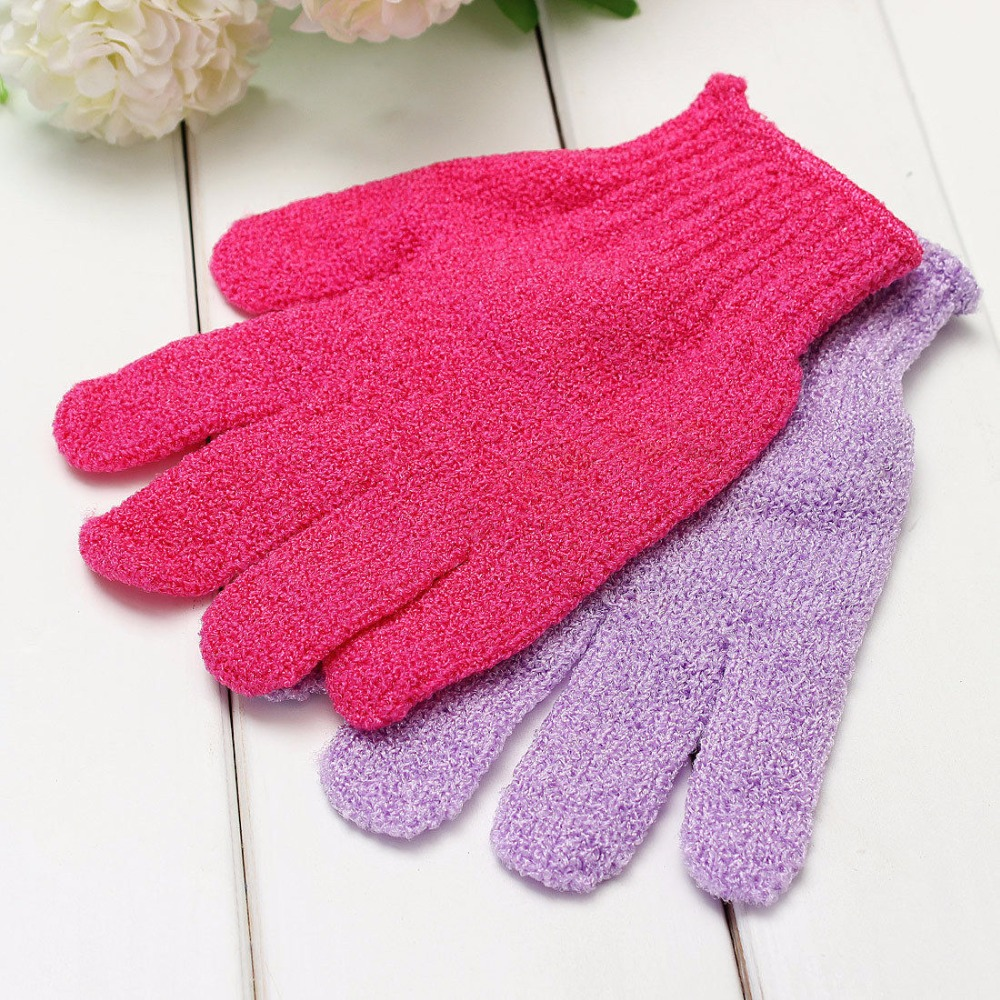 1pcs Shower Bath Gloves Exfoliating Wash Skin Spa Massage Scrub Body Scrubber Glove 9 Colors(radom Color)