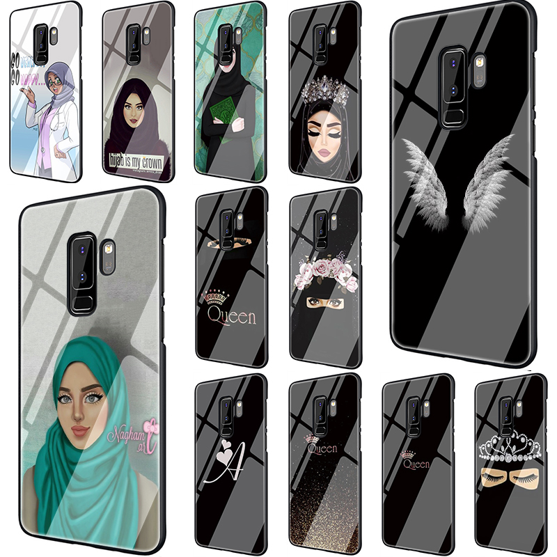 Muslim girl islamic eyes Hijab girl Tempered Glass phone case for Samsung S7 Edge S8 S9 S10 Plus Note 8 9 A10 20 <font><b>30</b></font> 40 <font><b>50</b></font> 60 70 image