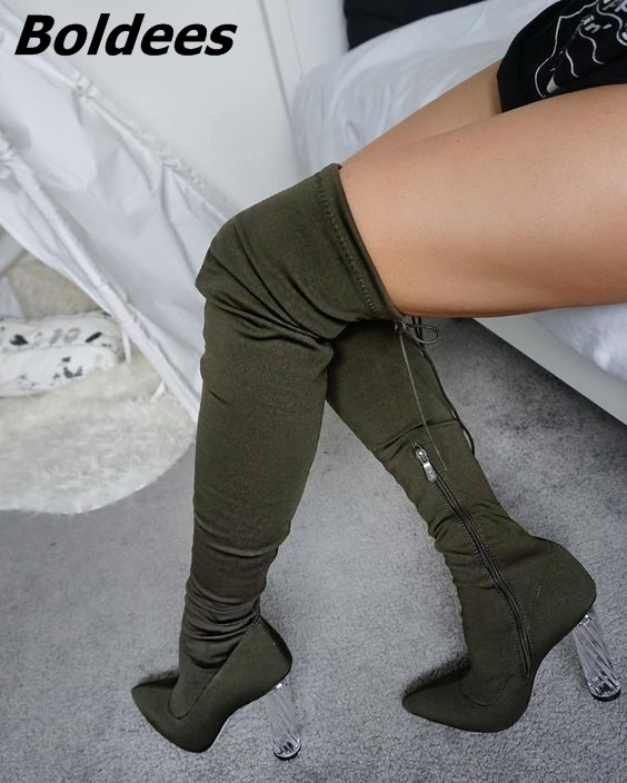 Women Stylish Transparent Block Heels Over Knee High Boots Simply Dark Green Suede Pointed Up Chunky Heel Lace Up Long Boots