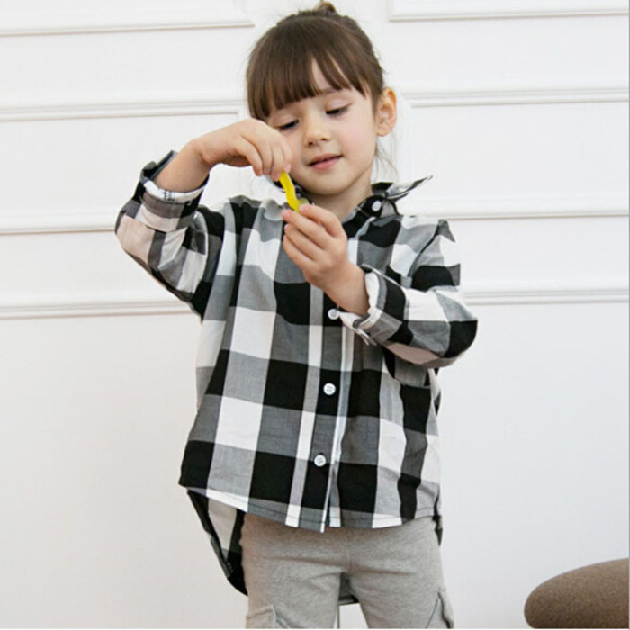 2016 Brand Girls Blouse Spring Autumn High Quality Children Blouse Long-sleeve Baby Girls Plaid Soft Cotton Shirt Tops Blusas