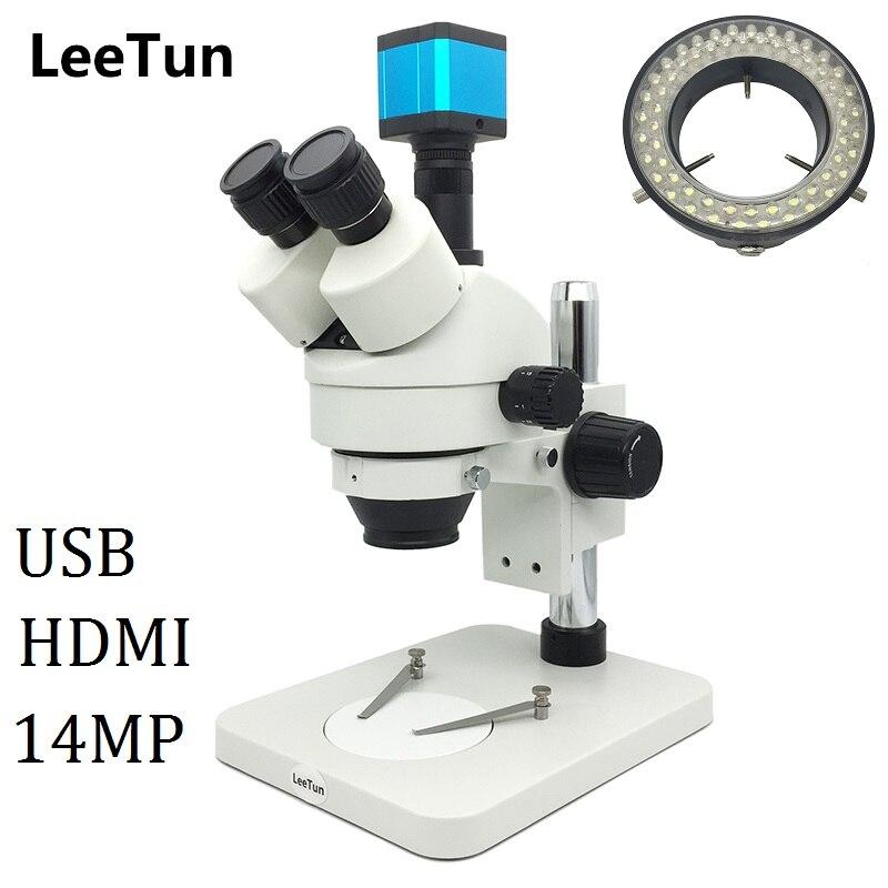 7X-45X Trinoculaire Lumineux Zoom Stéréo Microscope avec LED Lumière 14MP USB HDMI Caméra pour Téléphone Réparation PCB D'inspection