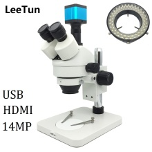 Wholesale 7X-45X Trinocular Illuminated Zoom Stereo Microscope with LED Light 14MP USB HDMI Camera for Phone Repairing PCB Inspection