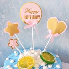 AVEBIEN 4pcs Star LOVEHappy Birthday Cake Topper Dessert Decoration for Party Pastry Insertion Decor