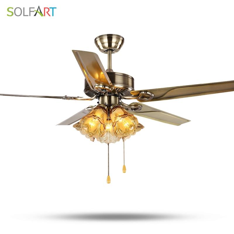 SOLFART en bois ou en fer ventilateur de plafond lumière 220 v ventilateur de plafond lampe antique granges ventilateur de plafond à distance luminaires slf2012