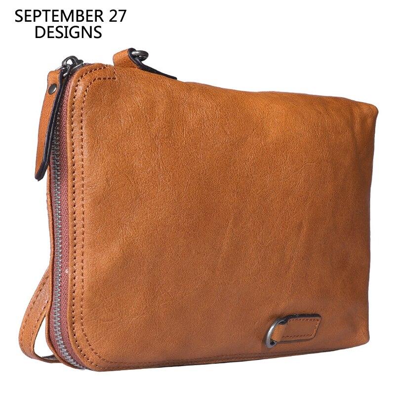 Men Clutch Wallets Genuine Leather Retro Multifunctional Male Purses 100%Cowhide Leather Vintage Mini Shoulder Bags Women Wallet