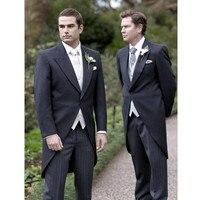 Пользовательские свадебный комплект Для мужчин перо с лацканами Комплект из 3 предметов платье жениха и Для Мужчин's бальный наряд (куртка +
