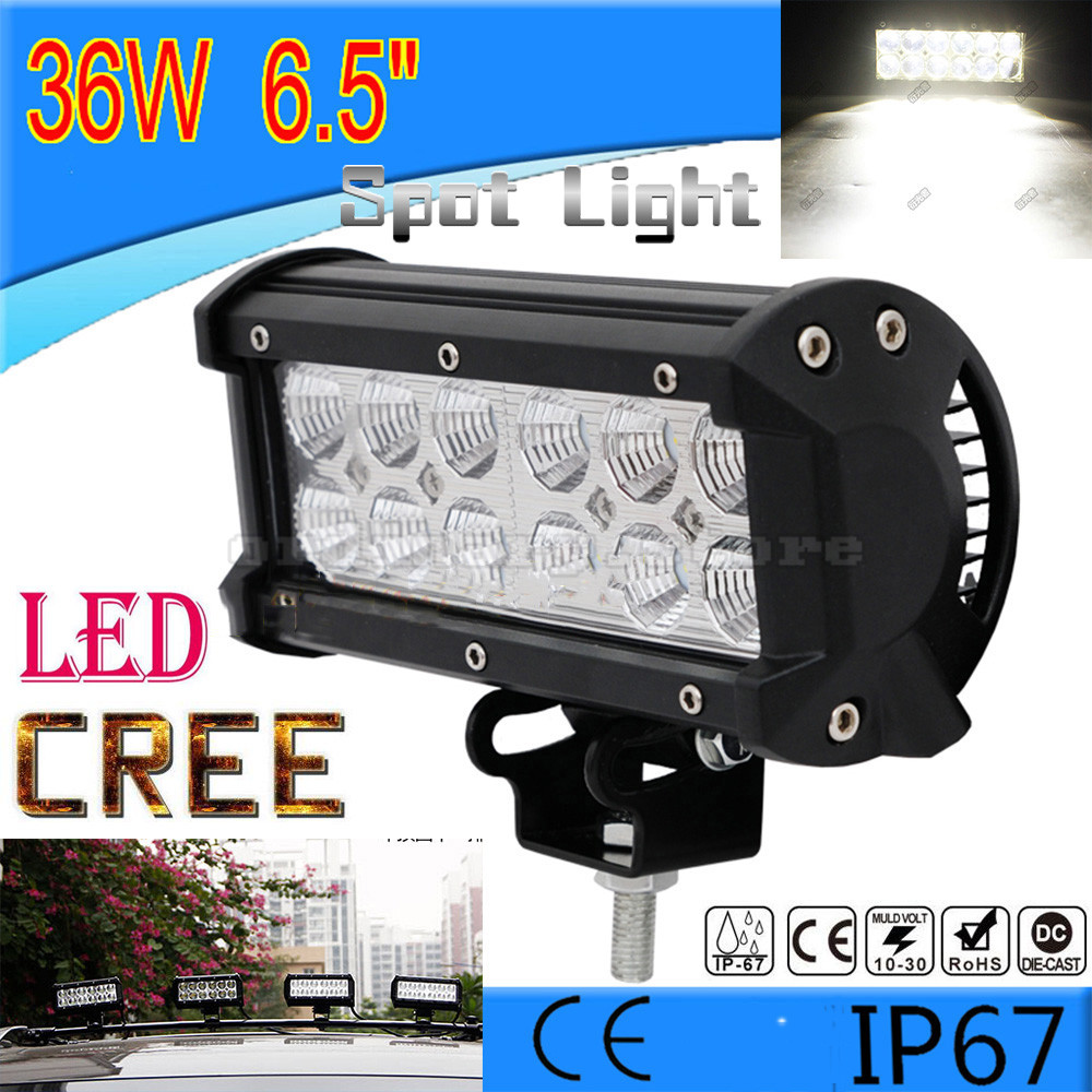 Super Bright 36W 12 LED Car Auto Truck Offroad SUV 4WD ATV Boat Bar Work Spot Light Driving Fog Night Safety Lamp Waterproof