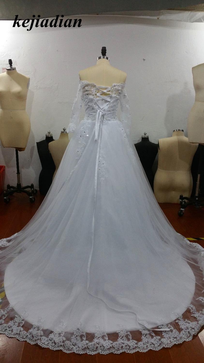 boat neck Princess Wedding Dresses Long Sleeve off the shoulder ...