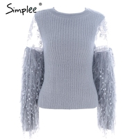 Simplee Patchwork Mesh Knitting Pullover Fashion Tassels Autumn Winter Sweater Women Tops Casual Embroidery Jumper Pull