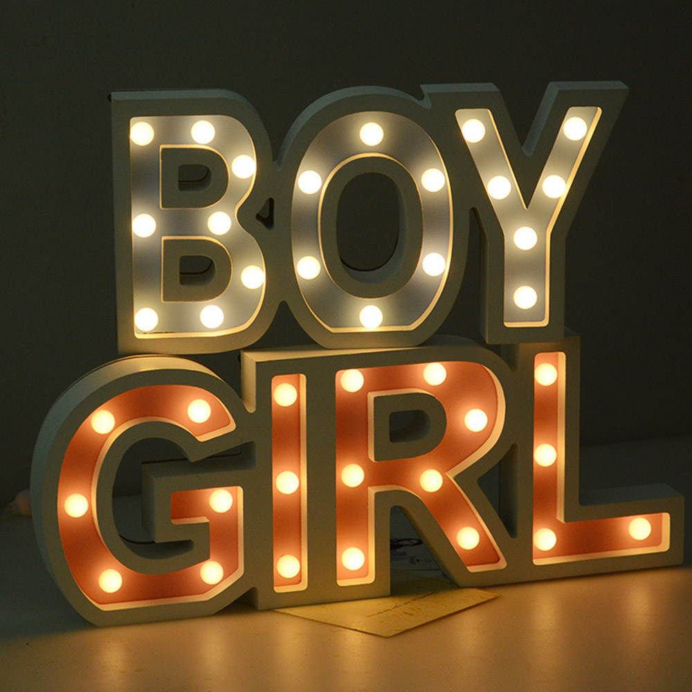 LED Night Light Romantic Indoor Decorative Wall Lamps Creative 3D Boy Girl Marquee Letter Home Birthday Wedding Decor Gifts