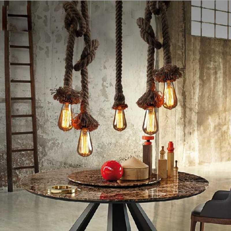 DIY ручной работы винтажный веревочный подвесной светильник чердак кулоны веревочные лампы Промышленный Эдисон лампа lustres de teto подвесной светильник