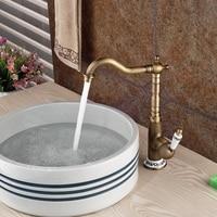 Deck Mounted Antique Brass Bathroom Kitchen Faucet Single Blue And White Porcelain Handle Mixer Tap