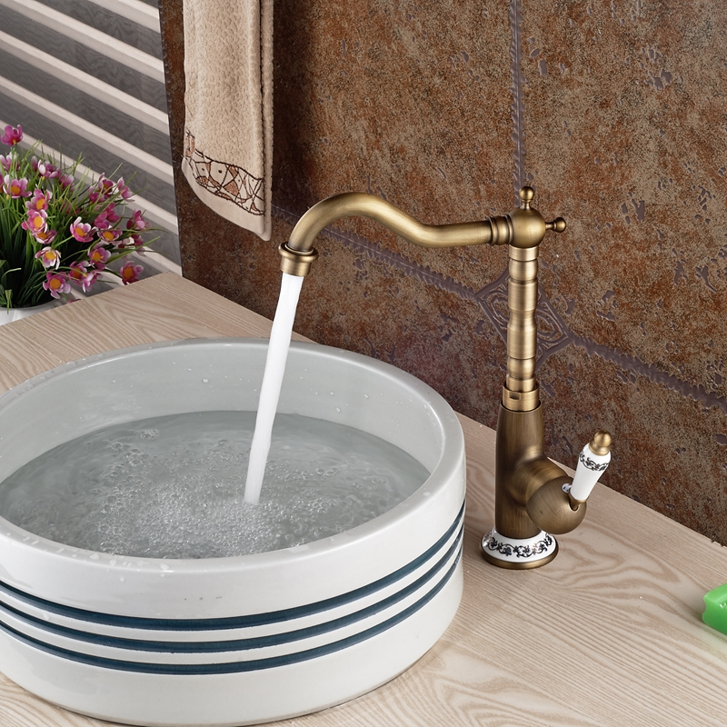 Deck Mounted Antique Brass Bathroom Kitchen Faucet Single Blue And ...