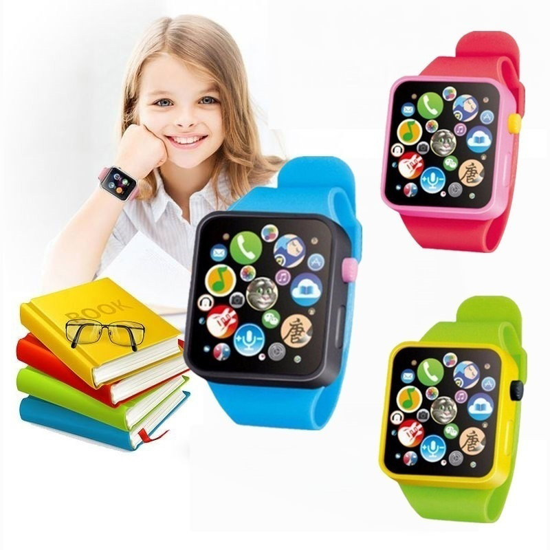 New 6 Color Multifunctional Touch Screen Simulated Watch Toddler Children Plastic Digital Watch Analog Smart Watch Education Toy