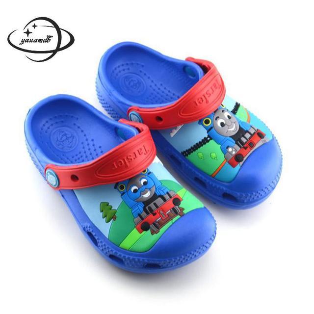 YAUAMDB ילדים פרדות קיץ EVA בני שטוח סנדלי קריקטורה רכבת לנשימה תינוק רך תחתון פעוט ילדי נעלי y28