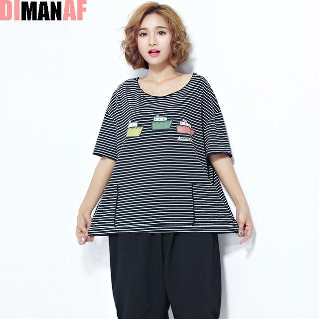 88956cc88d4 Women T-Shirt Plus Size Pattern Striped Print Summer Female Short Fashion  Black Loose Large