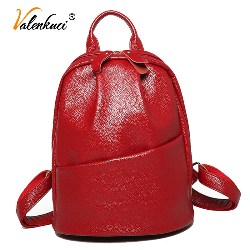 ФОТО Valenkuci 2017 women leather backpacks for women vintage school bag college girl travel backpack women mochila escolar BD-150