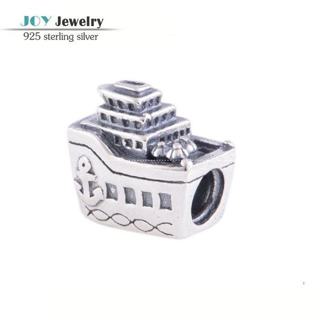 Navio de cruzeiro de prata esterlina 925 encantos serve europeus pulseiras de prata antigo encantos navio a vapor para mulheres que fazem jóias LW100