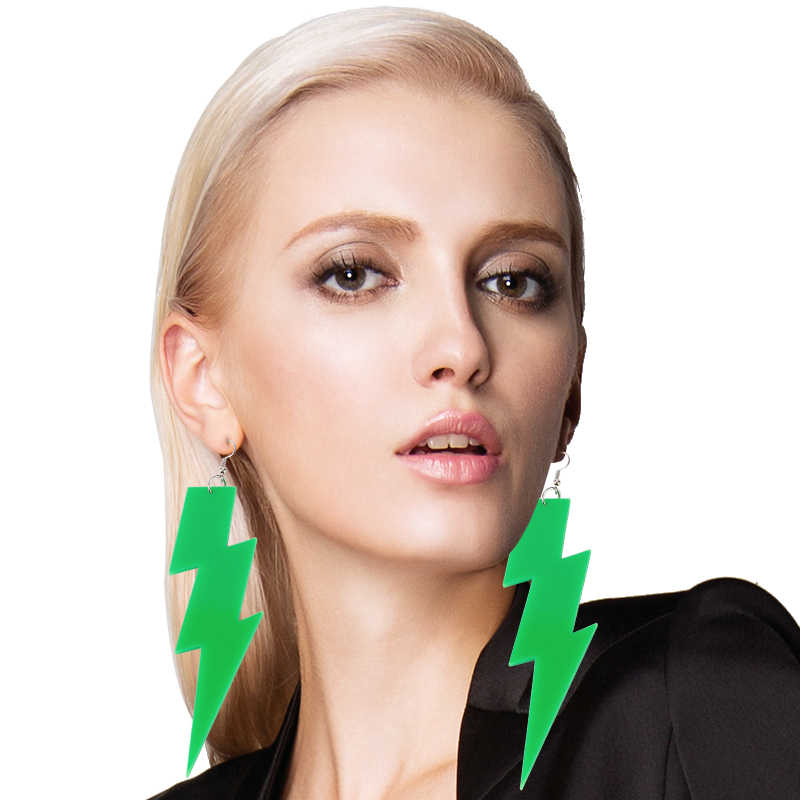 New Hiphop Rock Lightning Earrings Pendientes Fluorescentes Acrylic Punk Vestito Bambina Long Earrings Brincos Women Duftgold