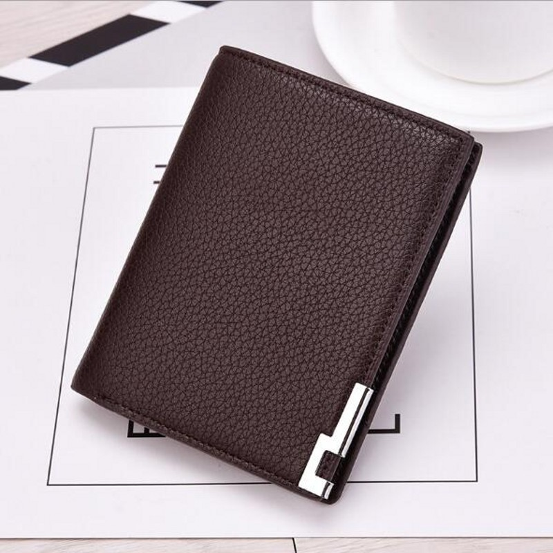 Men business black long short small thin solid leather wallet purses carteira masculina couro portefeuille homme 45