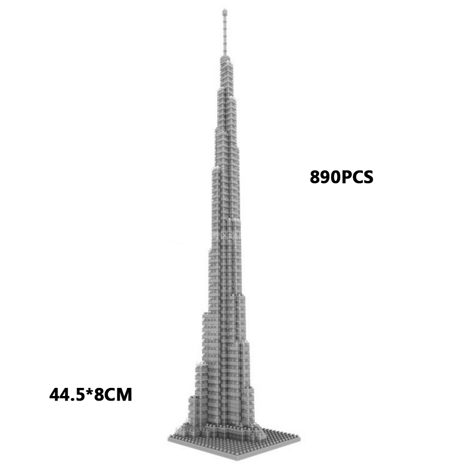 World famous architecture brick United Arab Emirates Dubai Burj Khalifa Tower micro diamond block model nanoblock toy collection 1681pcs assembly blocks burj khalifa tower model toy diamond bricks kids gifts birthday present compatible creator 16 16 45cm