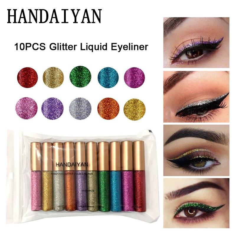 10 teile/satz Glänzende Eyeliner Lot Wasserdichte Shimmer Glanz Pigment Silber Gold Metallic Farbton Flüssigkeit Glitter Eye Liner Set Maquiagem