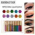 10pcs/set Shining Eyeliner Lot Waterproof Shimmer Shine Pigment Silver Gold Metallic Tint Liquid Glitter Eye Liner Set Maquiagem