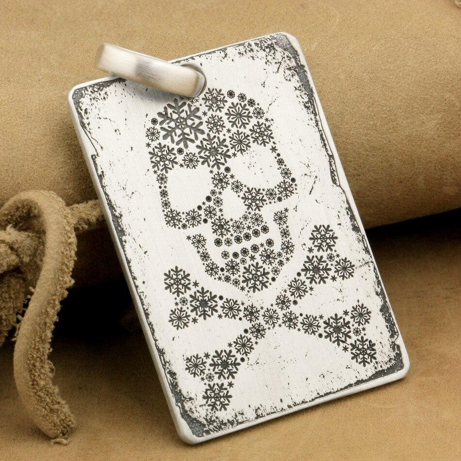 Profond gravé haut détail 925 en argent Sterling crâne croix os Pirate Biker Rocker Punk chien Tag pendentif 9X013 JP