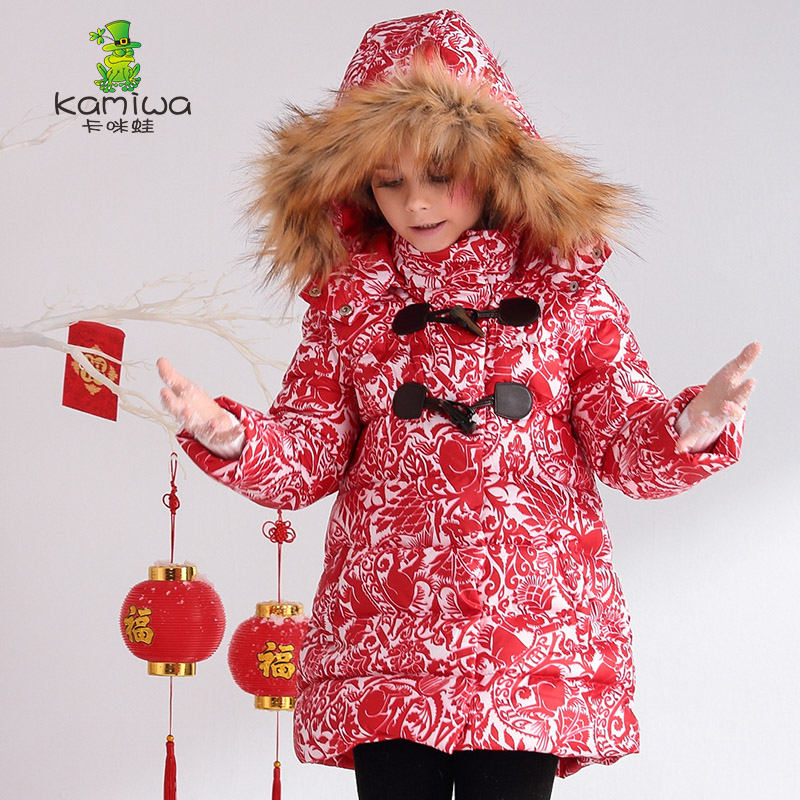 Girls Winter Coats 2017 Floral Printing Long And Jackets Kids hooded Warm Down Jacket Girls Clothes Parkas Baby Girls Clothing 2017 kids jacket winter for girl and coats duck down girls fluffy fur hooded jackets waterproof outwear parkas coat windproof