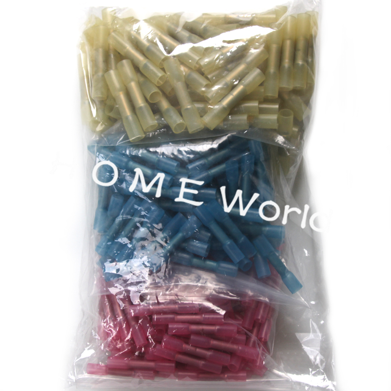 300pcs Waterproof Heat Shrink Terminals Cable Wire Crimp Insulated Shrinkable Butt Connectors Kit Yellow Blue Red 0.5-5.0mm2 480pcs insulated heat shrink electrical connectors assorted crimp terminals ring butt kit red yellow blue