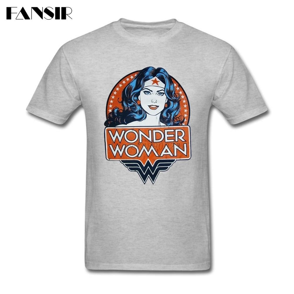 Классная футболка для Для мужчин Пользовательские хлопок короткий рукав американский фильм Wonder Woman группы одежда Топы корректирующие Для м...