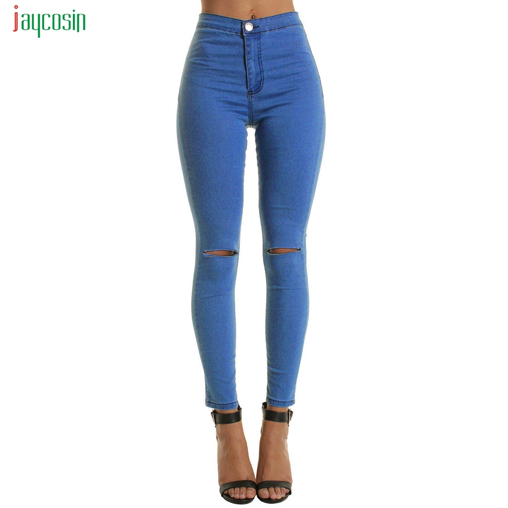 Jaycosin Springy Skinny Pants Women Jeans Mid Waist Solid Pants Women High Elastic Hole Pants Stretchy Women Slim Trousers