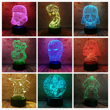 NEW Pokemons Star Wars Disney Princess 3D Lamp LED Night Light USB Skull Colorful Acrylic Kid Baby Deco Christmas Gift Present foreign star wars millennium falcon 3d lamp acrylic stereoscopic led colorful gradient atmosphere lamp