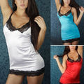 Señora Mujeres Vneck Lencería Sexy Vestido de Encaje del Camisón de Dormir de La G string