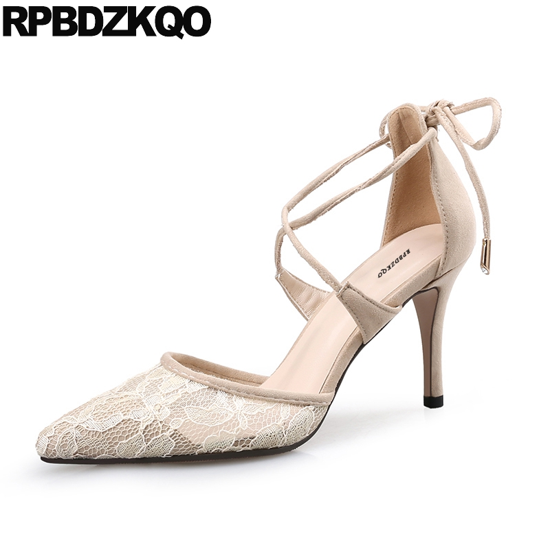 Nude Fashion Pointed Toe Size 4 34 Strap Women Pumps 2017 High Heels D'orsay Cross Sandals Big Ankle Scarpin Mesh Chinese Autumn цена