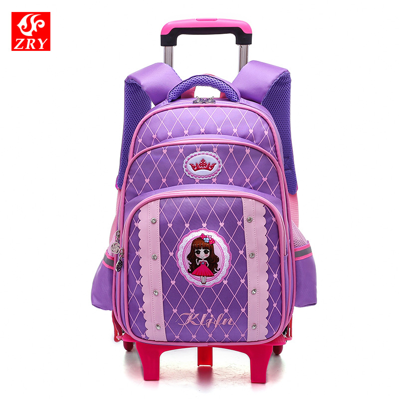 2018 Removable Children School Bags with 2/3 Wheels for Girls Trolley Backpack Kids Wheeled Bag princess travel luggage Mochila2018 Removable Children School Bags with 2/3 Wheels for Girls Trolley Backpack Kids Wheeled Bag princess travel luggage Mochila