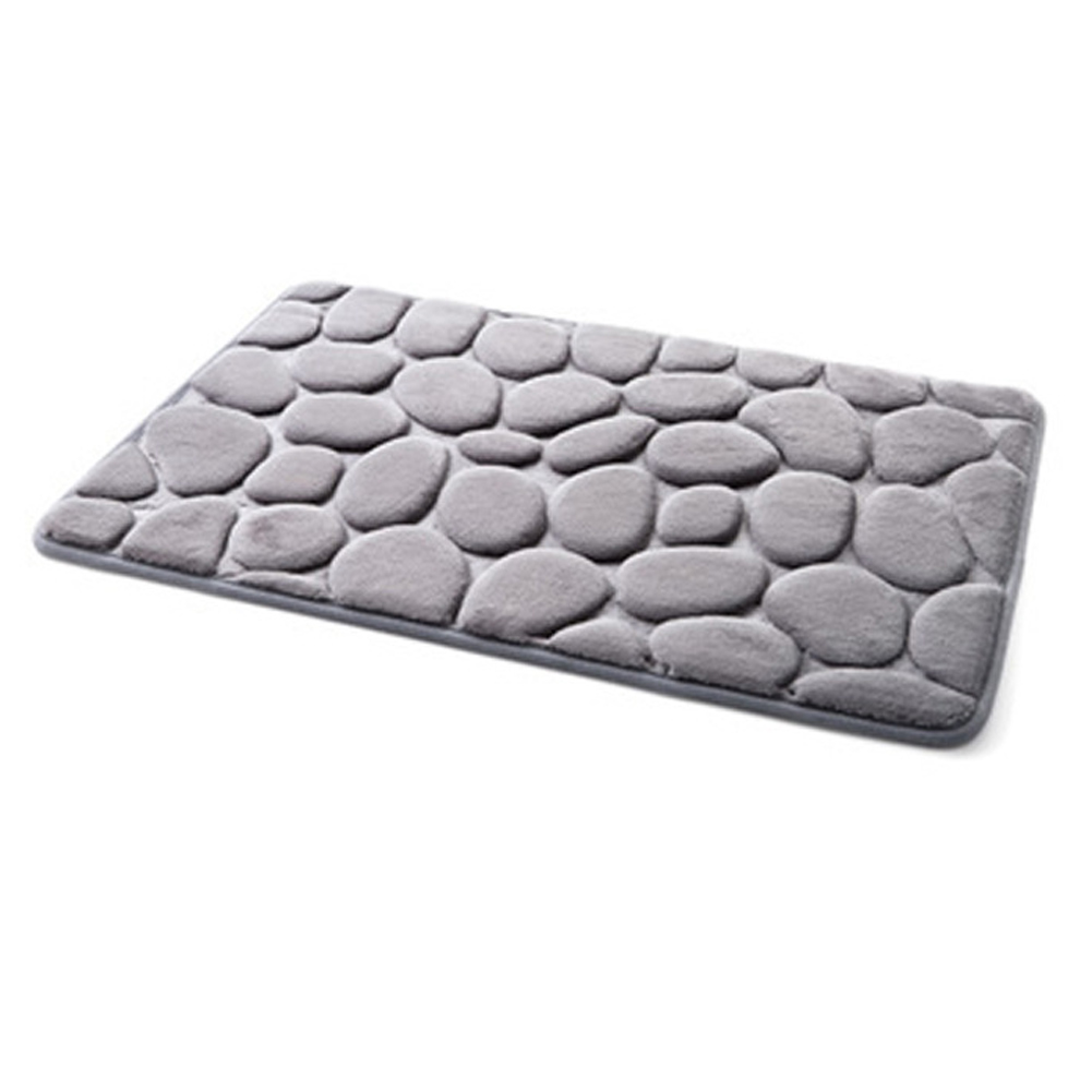 Non-Slip Pebble Flannel Bathroom Bath Rug Foam Pad Mat Shower Floor Carpet 40*60
