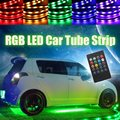 4x 8 Colors RGB 5050 SMD LED Strip Under Car Tube Underglow Underbody System Neon Chassis Light Kit + Remote Control Car Styling