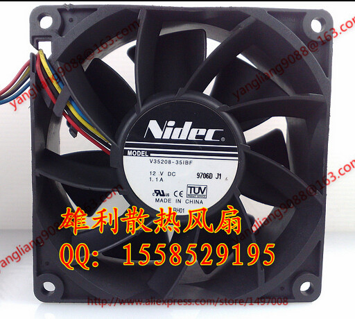 Free Shipping For Nidec V35208-35IBF DC 12V 1.1A, 90x90x38mm 4-wire Server Square Cooling Fan original for nidec ta550dc a34885 90 14070 12v 5 0a server cooling fans