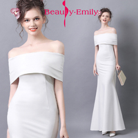 Beauty Emily 2018 Evening Gown Formal Evening Dresses White Boat Neck Deep Simple Style Party Dress
