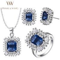 Hansel & Daisy Wang 2016 New Fashion Square CZ Diamantes de Prata Banhado Colar Brincos Anéis para Mulheres Jóias Set 2JS28
