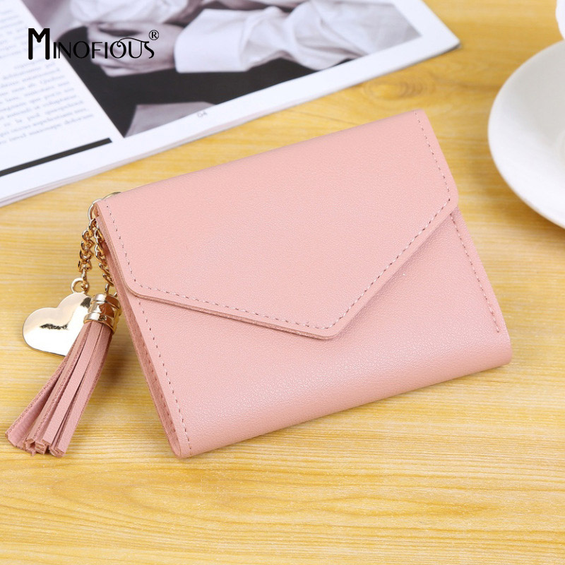 MINOFIOUS Fashion Solid Tassel Women Wallet Credit Cards Small PU Leather Purse Small Leather Money Purse Womens Short Wallets