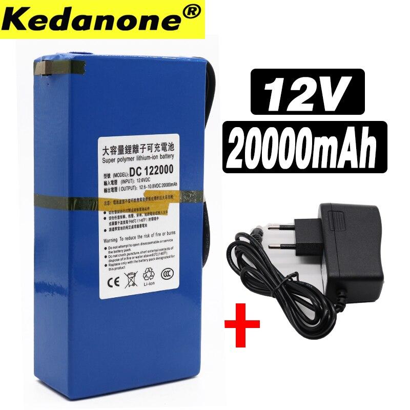 Alta Qualidade Super 12 v 20000 mAh Portátil Recarregável Lithium-ion Battery pack DC 12.6 V 20Ah bateria Com plugue DA UE