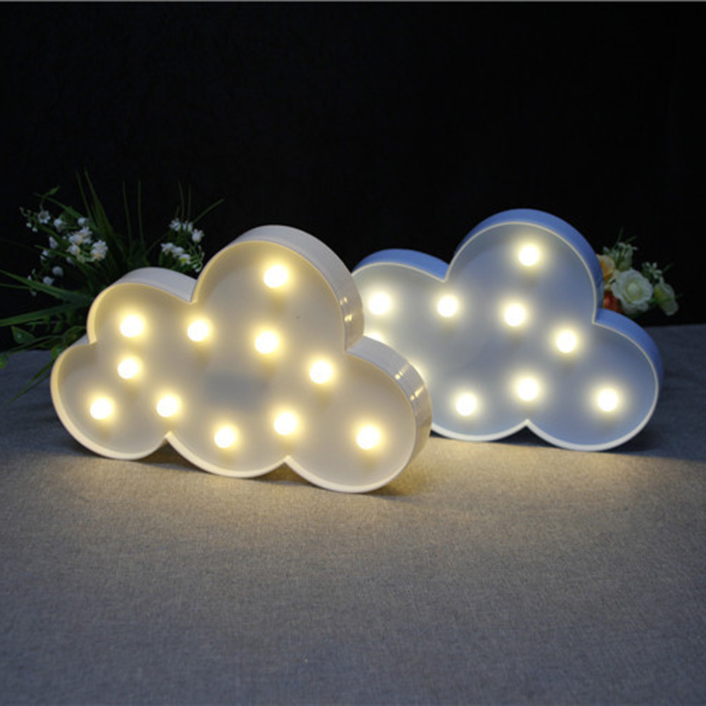 3D Cloud Night Lamp Battery powered plastic Light Baby sleep light bedroom Decoration For childrens Gift luz de noche 80505