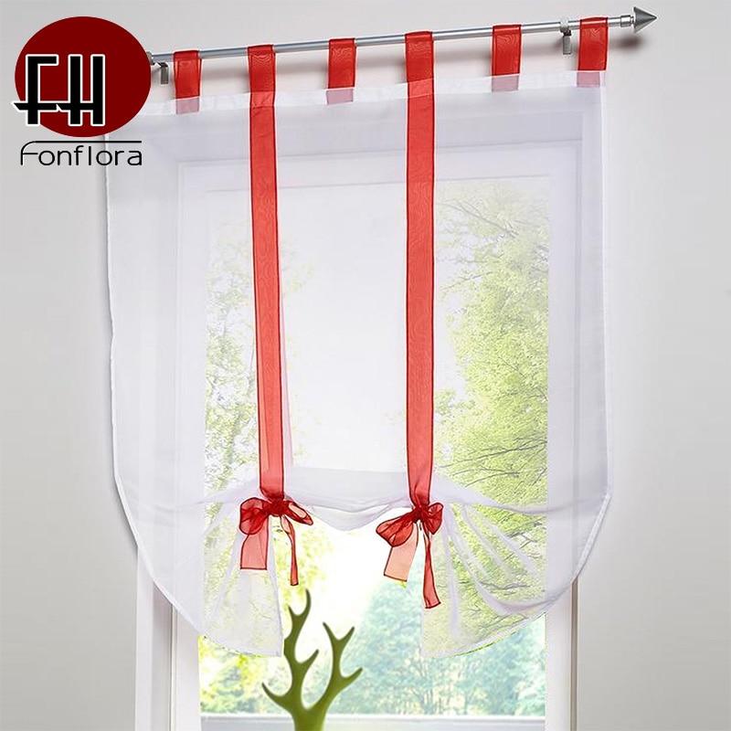Yarn Fabric Roman Curtain Solid Kitchen