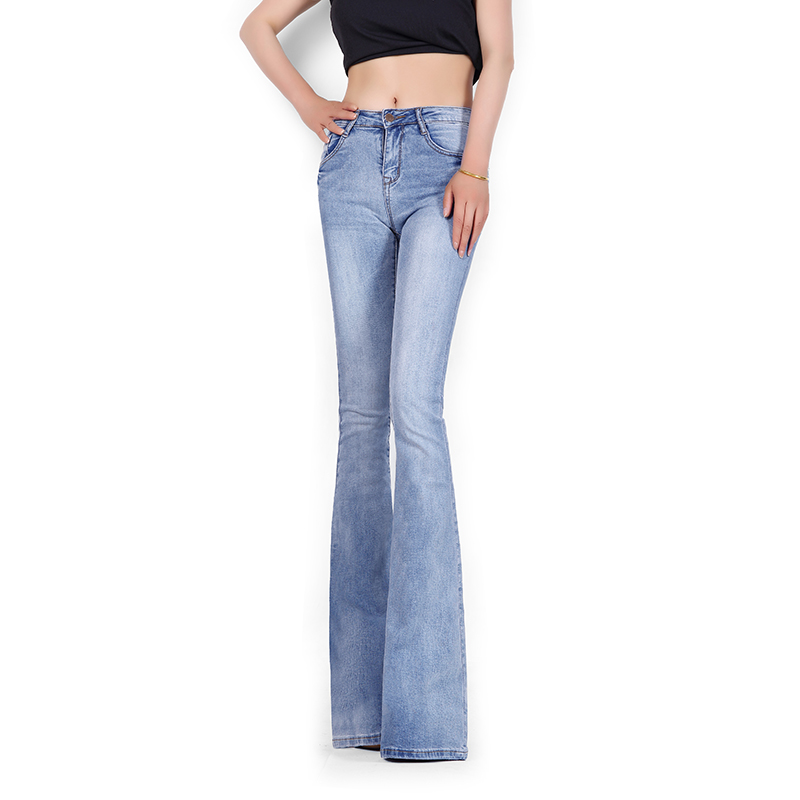 ФОТО Free Shipping 2017 Spring Italy New Mid Waist Light Blue Lengthened Slim Sexy Vintage Washed Flare Pant Women Long Jeans Fashion