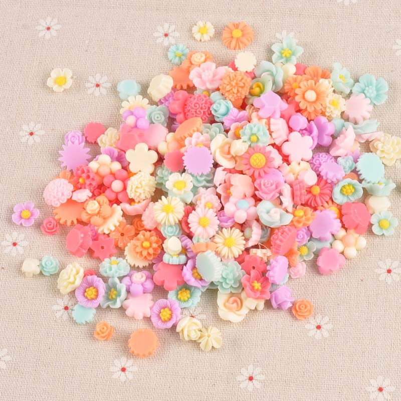 50PCS multicolor Flower flatback Resin Cabochons Scrapbook Craft 7-13mm DIY Embellishments decor Headwear accessories CP1977