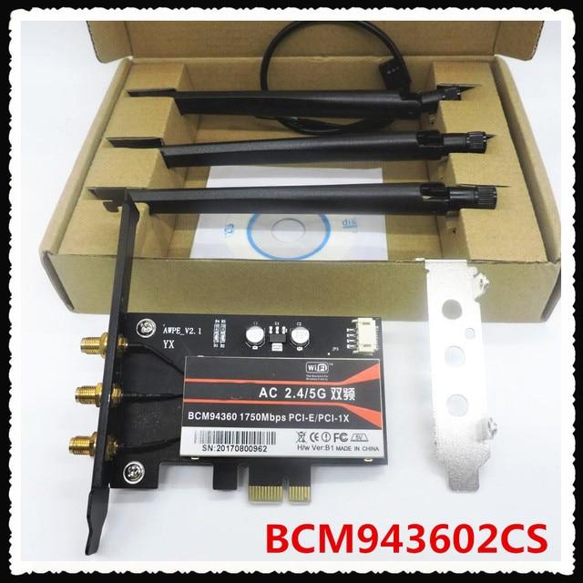 BCM943602CS 1300Mbps ثنائي النطاق 802.11AC سطح المكتب PCI E بطاقة لاسلكية الكمبيوتر واي فاي محول بلوتوث 4.1