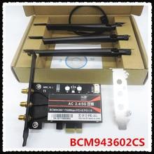 BCM943602CS 1300Mbps Dual Band 802.11AC Desktop Pci E Draadloze Kaart Pc Wifi Adapter Bluetooth 4.1